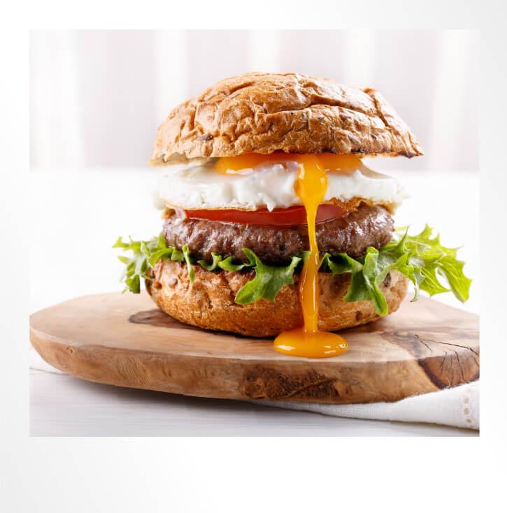Burger with Egg Polaroid Photo