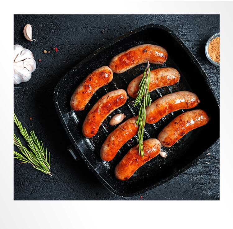 Gluten Free Sausages in a Pan Polaroid Photo