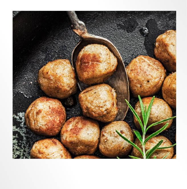 Fried Meatballs Polaroid Photo