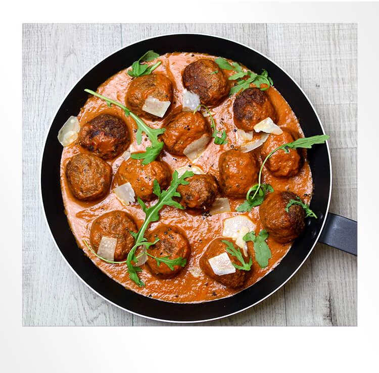 Meatballs in a Pan Polaroid Photo